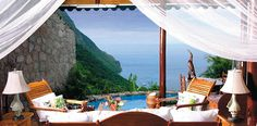 The #Ladera resort in #St.Lucia, West Indies, is so private that it has literally removed the fourth wall from the suites — each is open to the ocean breeze and the sound of the surf and the birds. The Hilltop Dream Suites are located 1,100 feet above the Caribbean Sea,