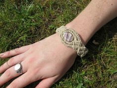 Purple Striped Charoite Macrame Bracelet. via Etsy.