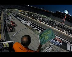 BRISTOL, TN - AUGUST 22:  Cale Gale, driver of the #33 Rheem Chevrolet, leads the field to the green flag to start the the NASCAR Camping World Truck Series UNOH 200 at Bristol Motor Speedway on August 22, 2012 in Bristol, Tennessee.