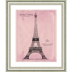 Vintage Print Gallery Eiffel Tower Pink Patent Print 22 x26 By ($199) ❤ liked on Polyvore featuring home, home decor, wall art, art, decor, posters, pink poster, vintage print gallery, pink wall art and pink flamingos poster