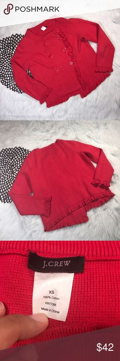 J.Crew Red Katie Sweater Cardigan *J.Crew Red Katie Sweater Jacket Cardigan Short w/ Ruffled Details, 2 side by side button down feature. Perfect forWork! Style 92958. Sold out and retails for $148! *Size Extra Small (XS) * Made of 100% cotton. * Pre-owned, but in excellent used condition. * Measurements: Underarm to underarm is 18 1/2 inches. Length is 20 1/2 inches. J. Crew Sweaters Cardigans