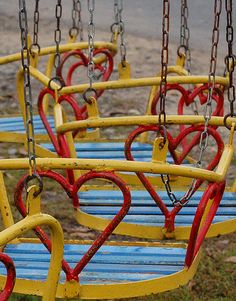 """You don't see """"swings"""" like these in """"Playgrounds"""" any more. I would love to find an old fashioned playground or a lovely little park that has these.and then take Wyatt for a swing. I think he would love it! I Love Heart, With All My Heart, Happy Heart, Heart In Nature, Heart Art, Heart Sign, My Funny Valentine, Carrousel, Felt Hearts"""