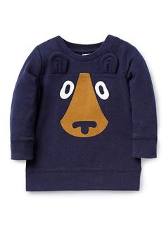 100% Cotton Sweater. French terry sweater with ribbed neck, cuffs and hem. Features bear face print on front with novelty ears. Regular fitting silhouette with snaps on baby's left shoulder for easy dressing. Available in Midnight Blue.