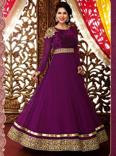 Buy Purple Satin Chiffon Floor Length Anarkali Suit 57162 online at lowest price from vast collection at m.indianclothstore.c.