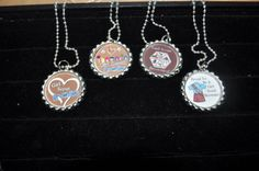 4 Girl Scout Brownie Necklaces, FINISHED or as CRAFT kit, Plain or GLITTER epoxy, brownie troop craft idea, Brownie badge idea