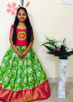 Buy Multi Color Un Stitched Ikat Silk Girls Pochampally Lehenga Kids Dress Wear, Dresses Kids Girl, Kids Outfits, Kids Wear, Indian Dresses, Indian Outfits, Kids Blouse Designs, Kids Ethnic Wear, Ikkat Dresses