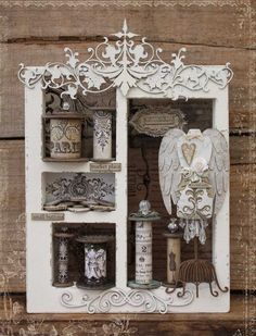 Gorgeous shadow box - I'd love to make a themed one for my bathroom with little bottles, etc.