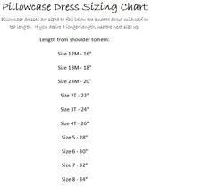 Size Chart for Pillowcase Dress pattern. Sewing Hacks, Sewing Tutorials, Sewing Crafts, Sewing Projects, Sewing Patterns, Kids Patterns, Sewing Kids Clothes, Sewing For Kids, Baby Sewing