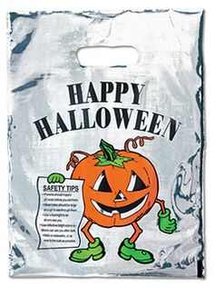 Silver Reflective Pumpkin Bag  2.5 mil. reflective plastic bag with die cut handle stock pumpkin design featuring educational safety tips. Add your custom imprint to the opposite side of the bag.  www.logosurfing.com (800) 728-7192