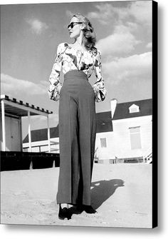 1940s Fashion A Peasant Top Canvas Print / Canvas Art By Everett pants trousers