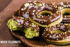 Sweet and delicate green tea donuts covered with semi-sweet chocolate glaze and sprinkles.