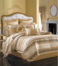 Embellishment above the bed. J Queen New York Marcello Gold Comforter Sets Gold Comforter Set, Bedroom Comforter Sets, Queen Comforter Sets, Gold Bedding, Brown Comforter, King Size Bed Linen, Main Image, Bedding Sets Online, Traditional Bedroom
