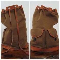 CANVAS & LEATHER army surplus backpack by TheLovedOne on Etsy