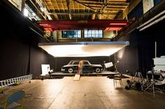 The photo studio built in a storage facility outside Vienna.