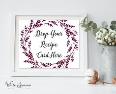 Sage Green Bridal shower decor, bridal shower recipe card sign, drop your recipe card here, green wedding shower, bridal shower decorations by WhiteSparrowPrints on Etsy Bridal Shower Signs, Bridal Shower Decorations, Bridal Shower Invitations, Green Bridal Showers, Bridal Shower Activities, Sage Green Wedding, Recipe Cards, Diy Wedding, Wedding Ideas