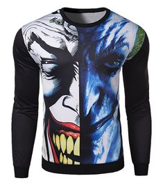 e4a180f81d1a Hot Sale Abstract Funny Face Rib Hem Slimming Round Neck Long Sleeves  Sweatshirt For Men