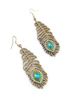 Gold Leaf Crystal Dangle Earrings