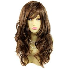 Wonderful wavy Long Light Brown Curly Cocoa Heat Resistant Ladies Wigs Hair * See this great product by click affiliate link Amazon.com