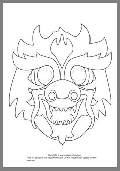 Dragon Mask Coloring Page Dragon Mask Coloring Page. Dragon Mask Coloring Page. Dragon Face Coloring Page in dragon coloring page Dragon mask to color With images Chinese New Year Crafts For Kids, Chinese New Year Dragon, Chinese New Year Activities, Chinese Crafts, New Years Activities, Chinese Art, Literacy Activities, Chinese Food, Coloring Books
