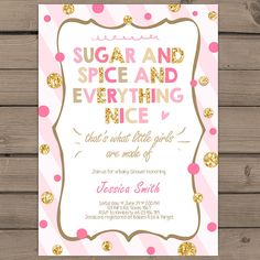 Sugar and Spice Baby Shower Invitation its a girl baby shower