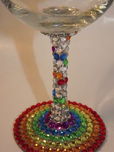 Rainbow Rhinestone Wine Glasses by EVRhinestones on Etsy
