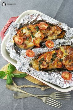 Überbackene Süßkartoffel mediterran mit Tomaten und Mozzarella ❤ vegetarisch