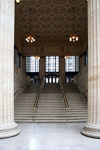 Two magnificent Corinthian columns highlight one of the station's main entrances.