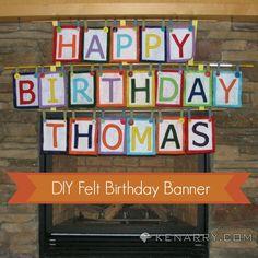 DIY Felt Birthday Banner from Kenarry.com for Tatertots and Jello #DIY