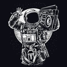 Astronaut Boombox T-Shirt @ Textual Tees Astronaut Tattoo, Astronaut Drawing, Astronaut Illustration, Space Illustration, Arte Emo, Space Artwork, Astronauts In Space, Space Cowboys, Music Images