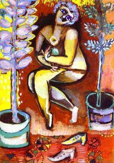 """Chagall, Pintor De Sonhos...  """"Nu Com Flores"""",1911. Guache sobre papel. 33,5 x 24 cm. Coleção Privada."""