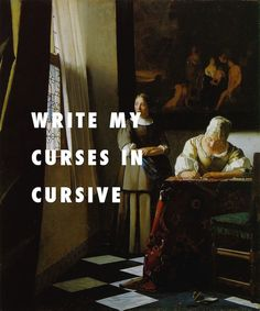 Classic Paintings Are Perfectly Paired With Hip Hop Lyrics.A Lady Writing a Letter, with her Maid Johannes Vermeer / Otis, Jay-Z, Kanye West feat. Lyric Quotes, Art Quotes, Lyric Art, Music Lyrics, Drake Lyrics, Rap Music, Hip Hop Lyrics, Classical Art Memes, Auryn