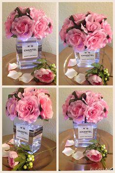 Money Bouquet Discover Light-up Floral Centerpiece with Glass Vase and Custom Label (WHITE LED) Chanel Room, Chanel Decor, Glamour Decor, Floral Centerpieces, Floral Arrangements, Paris Theme Centerpieces, Chanel Birthday Party, Chanel Party, Decoration Chic