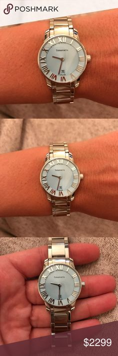 Tiffany & Co Atlas Watch Tiffany & Co atlas watch - stainless steel with Tiffany blue face. Beautiful condition!!! Comes wrapped with box and bag. Tiffany & Co. Accessories Watches