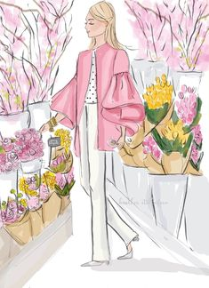 Items similar to Spring Blooms - Heather Stillufsen - Self Care - Cards and Art - Wall Art for Women on Etsy Neuer Monat, Sisters Art, Ecole Art, Spring Blooms, Spring Flowers, Hello Spring, Happy Spring, Illustrations, Cute Illustration