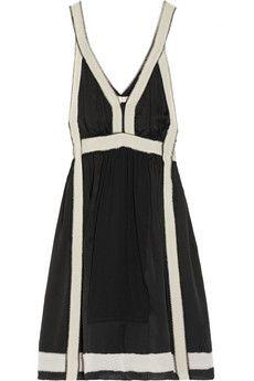 Vanessa Bruno Contrast-trimmed silk-satin dress   NET-A-PORTER