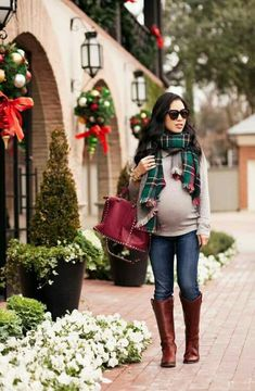 Plaid scarf maternity
