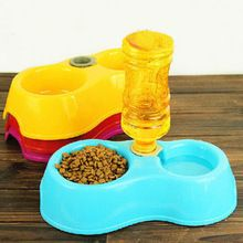 1PC Plastic Double Using Pet Dog Cat Puppy Automatic Water Dispenser Food Dish Bowl With Water Dispenser(China)