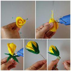 Связать крючком розу