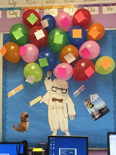 "What an amazing idea - using the movie ""UP"" for data wall inspiration! Each balloon has a sticky note on it representing one student's scores. Data Bulletin Boards, Data Boards, Classroom Themes, Classroom Organization, Data Room, Visible Learning, Data Tracking, Student Data, Learning Goals"