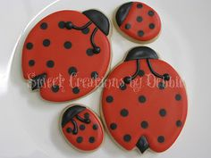 Ladybug cookies for a baby shower.