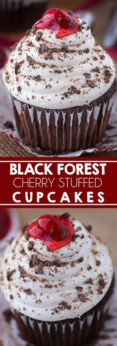 Black Forest Cupcakes stuffed with filling I German Cupcakes I Cherry Cupcakes I Chocolate I Cupcakes I Christmas I Dessert I Whipped Cream I Frosting #dessert #cupcake #christmasdesserts