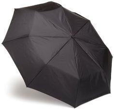 Totes Blue Line Basic Auto Open Auto Close  Compact Umbrella, Black, One Size