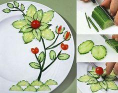 coole Teller-Deko-Idee mit gurken als kreative Party-essen-idee