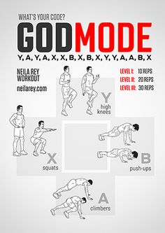 Over a Hundred Different WODs, lots with geeky names (shown: GodMode Workout) LOVE This!