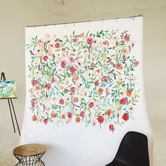 Halfway done with the floral backdrop  - also, I'll be teaching floral watercolor and a calligraphy in the morning at @wayfarehq and there's still some spots left- check out the details on my website at www.monvoir.com/workshops! #monvoir #monvoirworkshops #costamesa #newportbeach #floralwatercolor #calligraphy