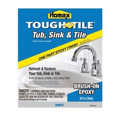 For refinishing tub. Homax® Tough As Tile Brush-on Finish - Specialty Paints - Ace Hardware Painting A Sink, Tub Paint, Painting Tips, Tub Tile, Paint Finishes, Home Repair, Epoxy, Home Improvement, It Is Finished