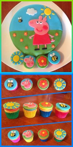 PEPPA PIG CAKE AND MATCHING THEMED CUPCAKES!! One of my first fondant covered cakes and I was really happy with the results. I absolutely love the colours and details of this cake. If I can do it, anyone can. With all the different bright colours used, including the fondant, cupcake cups and coloured buttercream the whole lot goes well and just looks absolutely lovely. Practice_Makes_Perfect