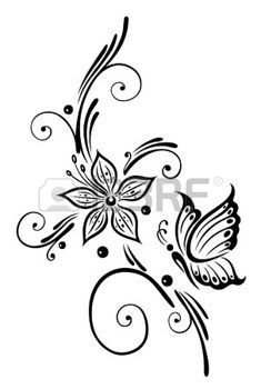 Black flowers with butterfly, tribal art photo