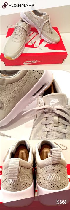 New NIKE SPORTSWEAR AIR MAX THEA PRM Light Bone NIKE SPORTSWEAR AIR MAX THEA PREMIUM   Trainers - Colour light Bone Women Shoes Trainers Low-top Trainers Upper material:Leather/synthetics Internal material:Textile Cover sole:Textile Sole:Synthetics Firm Price. No trades thank you Nike Shoes Sneakers