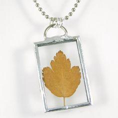 Golden Leaf Soldered Pendant by XOHandworks $20